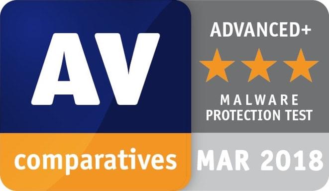 AV Comparatives Malware Protection April 2018 Award Image